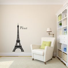 Eiffel Tower Paris Wall Decal Sticker Graphic. This decal measures 22 x 44 inches. This is a cute, simple and modern way to decorate the room of your choice! All of our vinyl wall stickers are profess