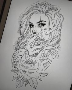 "632 Likes, 9 Comments - Madeleine Hoogkamer (@madeleinehoogkamer.tattoo) on Instagram: ""Lazy sunday drawing for fun. Available to tattoo, mail me if you're interested :)"" #TattooIdeasDibujos"