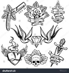 Ideas Tattoo Old School Rose Design Flash Art, Flash Art Tattoos, Body Art Tattoos, Hand Tattoos, Sleeve Tattoos, Ship Tattoos, Old School Tattoo Designs, Small Tattoo Designs, Flower Tattoo Designs, Flower Tattoos