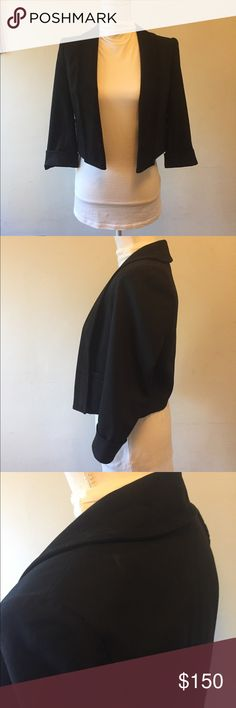 Alice + Olivia black leather jacket small Super cute! Please see photos for some marks on the back of jacket Alice & Olivia Jackets & Coats Blazers