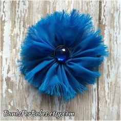 Blue Frayed Chiffon Flower Hair Clip Toddler Hair Clip,   Hair Bow, Alligator Clip, Hair Accessory by BandsForBabes