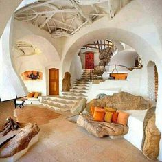 Underground home interior - Homes Above and Below:  Airplane Hangar and Underground Homes