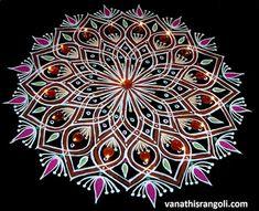 Vanathi's Rangoli: Kaavi \ Red Border Flower Rangoli - Freehand Style...
