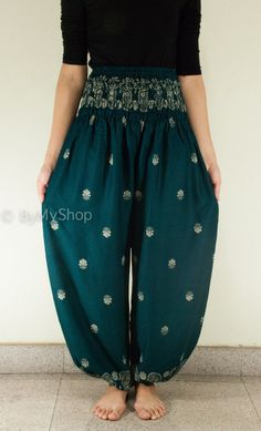 Harem Pants/Yoga Pants/Aladdin Pants/Boho Pants with Pockets/rayon print fabric/elastic waist  (Dark Green Vintage) on Etsy, $15.00