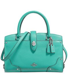 COACH Mercer Satchel 24 in Aqua Grain Leather | Everything Turquoise