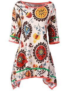Casual Scoop Collar 3/4 Sleeve Asymmetrical Printed Women's Dress