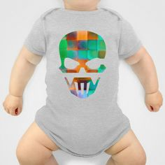 CHECKED DESIGN II Onesie by Pia Schneider [atelier COLOUR-VISION] - $20.00 #abstract #art #design #checked #plaid #pattern #square #geometric #colourful #orange #green #turquoise #mint #salmon #textures #piaschneider #ateliercolourvision #skull #skullshape #onesies #baby #babytees #clothing #babyclothing