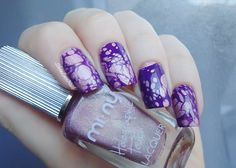 Silvia Lace Nails: Holo pink and purple water spotted