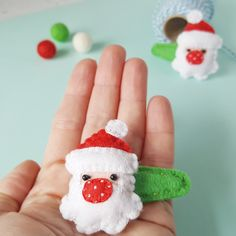 These festive Santa hairclips are so tiny and fiddly to cut and stitch but oh my, are they cute? Christmas Hair, Father Christmas, Xmas, Felt Hair Clips, Hair Barrettes, Felt Decorations, Christmas Decorations, Christmas Eve Box Fillers, Beady Eye