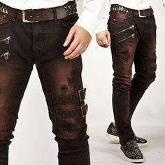 Extreme Vintage Double Belt Accent Grunge Wine Slim Jeans
