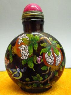 Chinese Hand Painted Bird Pattern Glass Snuff Bottle