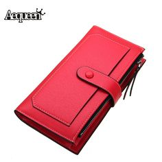 New Fashion Women Wallet Long Designer Leather Coin Purses Female Clutch Credit Card Holders Solid Candy Color Hasp Wallet Girls ** Visit the image link more details.