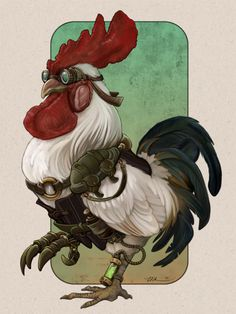 """""""Steampunk Rooster"""" - Illustration by Ursulav Ville Steampunk, Steampunk City, Steampunk Necklace, Chicken Drawing, Chicken Art, Rooster Illustration, Chicken Illustration, Creative Illustration, Steampunk Animals"""