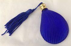 Cobalt Blue Satin Glass Sea Shell Perfume Bottle & Tassel Flat Back Unused FR SH