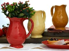 Cantaria Pictchers in Poppy Red, Almost Yellow & Golden Honey... Simply Stunning...! Available in 7 color ways which complement each other when mixed.