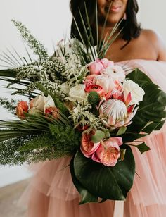 Tropical leaves, green foliage, king protea. Boho Wedding, Dream Wedding, Wedding Dress Boutiques, Destination Wedding Inspiration, Dallas Wedding Photographers, Blush Dresses, Elegant Flowers, Pink Outfits, Celebrity Weddings