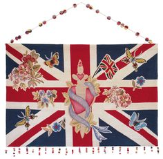 """The Union Jack is, of course, the standard-bearer—though many designers are using the iconic flag with a bit of tongue-in-cheek. Lucinda Chambers' hand-wovern """"Jubilee"""" wall hanging for the Rug Company features tattoo art. Lucinda Chambers, Composition Art, Small Room Decor, Rug Company, Save The Queen, Union Jack, Textile Artists, Modern Rugs, Diy Art"""