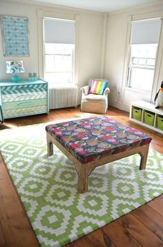 table turned ottoman, painted furniture, repurposing upcycling, reupholster