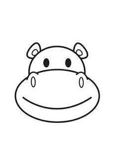 Coloriage Tête d'hippopotame