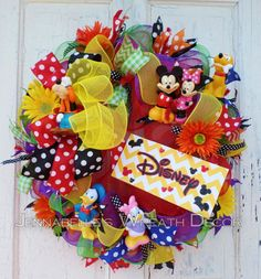 Disney Inspired Wreath Mesh Wreath Mickey Mouse by JennaBelles Mickey Mouse Wreath, Disney Wreath, Minnie Mouse, Mickey Mouse Classroom, Disney Classroom, Cute Crafts, Crafts To Do, Christmas Mesh Wreaths, Christmas Crafts