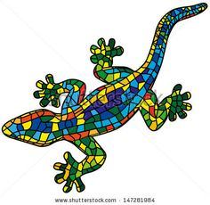 Beautiful colored lizard isolated on white background, stylized of Mosaic. Gecko.