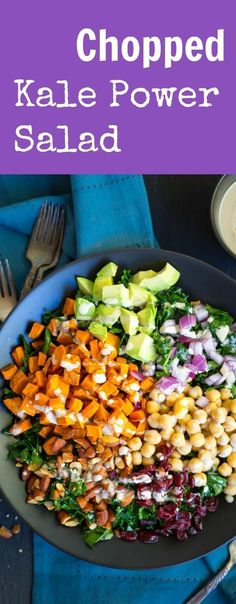 This delicious Chopped Kale Power Salad is loaded with sweet potato, chickpeas, avocado and lots more! All topped off with a tahini lemon dressing. Great for lunch or dinner! Gluten free and vegan!