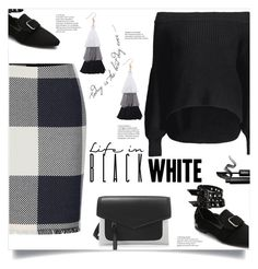 """Black & White"" by mahafromkailash ❤ liked on Polyvore featuring INIKA, blackandwhite, colorblock, CasualChic, rockerstyle and fall2017"