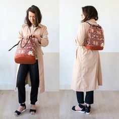 A two-in-one backpack and tote in ikat fabric. The Biennale Bag Nomad. Handmade in Amsterdam by Honey Clarke