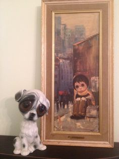 Vintage Mid Century Modern Big Eye Sad Eye Print and Dog Collection by A Vintage Revolution. $35.00, via Etsy.