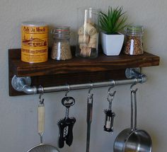 """Industrial Rustic Kitchen Wall Shelf Spice Rack with 18"""" Pot Rack Bar and 5 S Hooks"""
