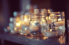 floating candle in mini mason jars