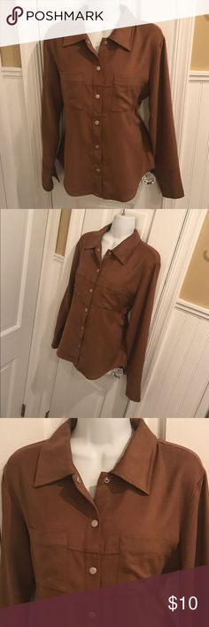 """Express shirt About 25"""" long. Material feels like soft suede. Express Tops Button Down Shirts"""