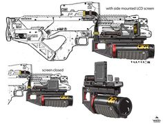 Designers explored customised sidearms, weaponised gas lasers and explosive ordinance for the weapons of Elysium. Cues were taken from corporate aerospace and contracted private institutions working in experimental weaponry.  © 2013 Columbia TriStar Marketing Group, Inc. All rights reserved.