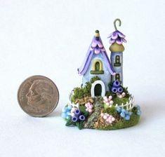 Miniature Whimsical Fairy Blossom Cottage House OOAK C Rohal | eBay