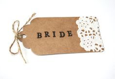 Hand stamped wedding place cards. https://www.etsy.com/listing/206091770/hand-stamped-scallped-kraft-doily