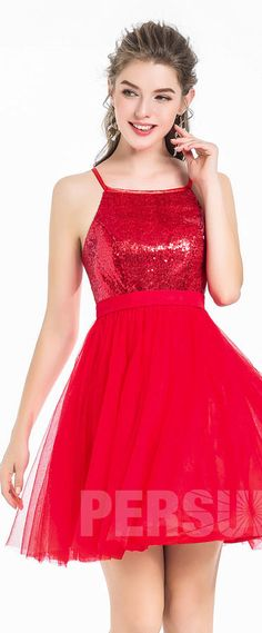robe de soirée rouge courte à haut paillettes 2018