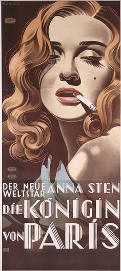 """""""Die Königin von Paris (The Queen of Paris) Anna Sten"""", movie poster. Artist: Margit Sidonie Kováts (1909-2001), 1934. Printer: Münster & Co., Wien. Anna Sten (1908-1993) was a Ukrainian-born American actress. Film producer Samuel Goldwyn, who brought her to the US with the aim of creating a new screen personality to rival the popular Greta Garbo."""