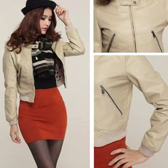 New women's Zipper Short-Slim Washed Leather Motorcycle Leather Jacket Coat #Dunland #Motorcycle