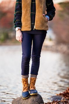 last light of autumn (J Crew plush fleece vest + Ralph Lauren sweater + Madewell shirt + J Crew 'pixie' pants + J Crew socks + LL Bean boots + Tory Burch watch) Winter Outfits For Work, Casual Fall Outfits, Cute Outfits, Preppy Girl, Preppy Style, My Style, J Crew Boots, Duck Boots, Crew Socks