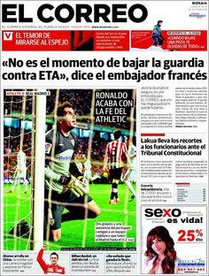 Los Titulares y Portadas de Noticias Destacadas Españolas del 15 de Abril de 2013 del Diario El Correo ¿Que le parecio esta Portada de este Diario Español?