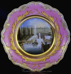 VERY FINE AND RARE Russian Imperial porcelain topographical plate with a view of the Peterhof palace