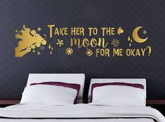 Take her to the moon for me okay - Inside Out Inspired Quote, Disney Pixar Wall Vinyl Decal, Home Decor, Laptop Decal Macbook, Bing Bong Joy