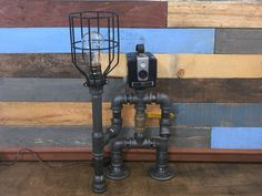 Robot Lamp, Pipe Lamp, Industrial Decor, Steampunk Lighting, Pipe Decor, Man…
