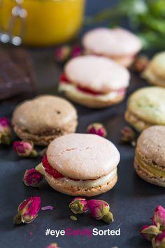 Rose, raspberry and white chocolate macarons, chocolate orange macarons and tarragon and white chocolate macarons   Sorted Food for #eyeCandySorted. Full recipe at http://sortedfood.com/#!/macaronseyecandy/