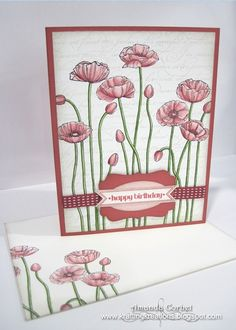 Just ordered this background stamp form my Stampin' Up consultant and BF Sweeney Sweeney Mottas today and can't wait to make this gorgeous card! Krafting Kreations by earline Scrapbooking, Scrapbook Cards, Poppy Cards, Pink Cards, Handmade Birthday Cards, Copics, Flower Cards, Cute Cards, Homemade Cards