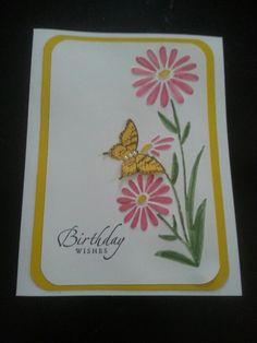 Birthday card using large daisy embossing folder