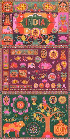 Indian Illustration, Travel Illustration, Graphic Illustration, India Pattern, Drawn Art, India Design, Travel Icon, Indian Folk Art, Truck Art