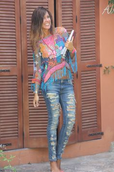 Mytenida wearing bright eclectic crochet + ripped denim. Love this quirky outfit!