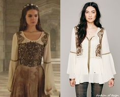 In the seventeenth episode Kenna wears this Free People Golden Moments Tunic ($97.99). Worn with Blair Nadeau Millinery headpiece and Lulu Frost earrings.