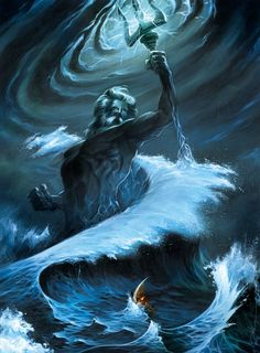 Poseidon - God of the sea, protector of all waters. Poseidon is the brother of Zeus. After the overthrow of their Father Cronus he drew lots with Zeus and Hades, another brother, for shares of the world. His prize was to become lord of the sea. He was widely worshiped by seamen. He married Amphitrite, a granddaughter of the Titan Oceanus. (greekmythology.com, 2014)